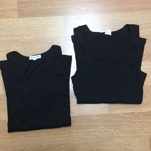 Tops - black ribbed stretchy tank tops lot size small
